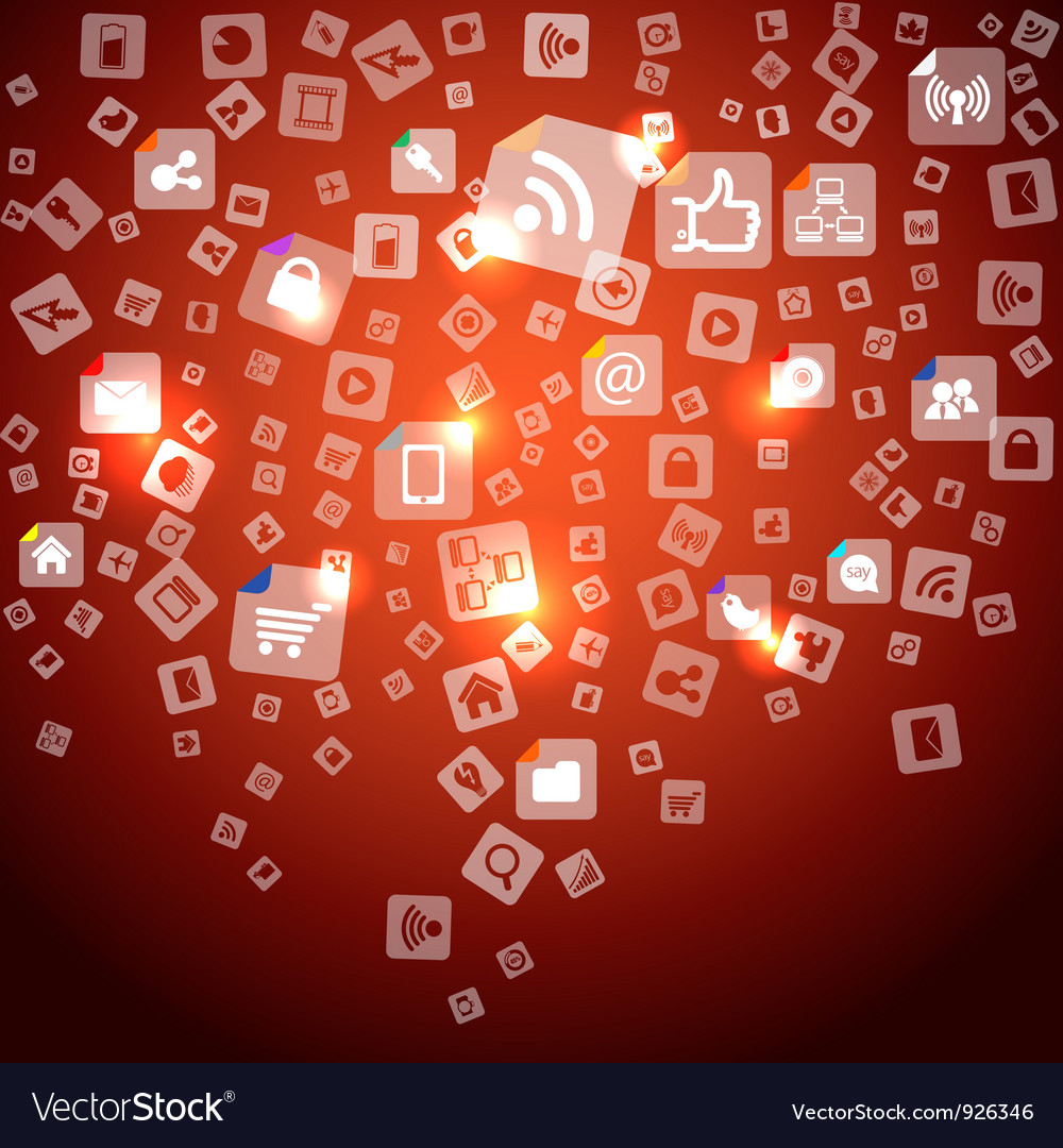 Abstract media icons falling down vector image
