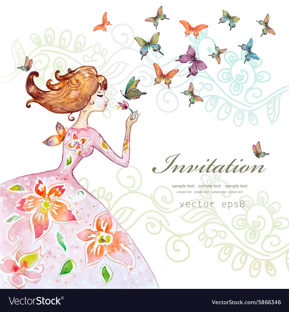 Beautiful girl with butterfly watercolor painting