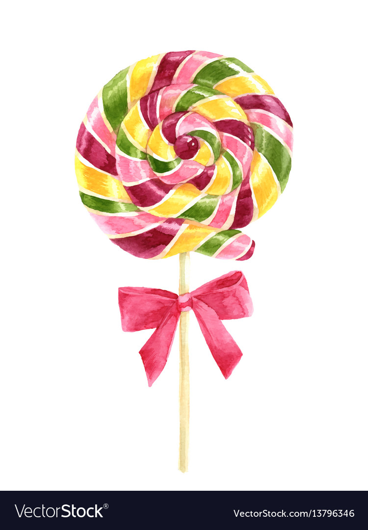 Bright watercolor lollipop