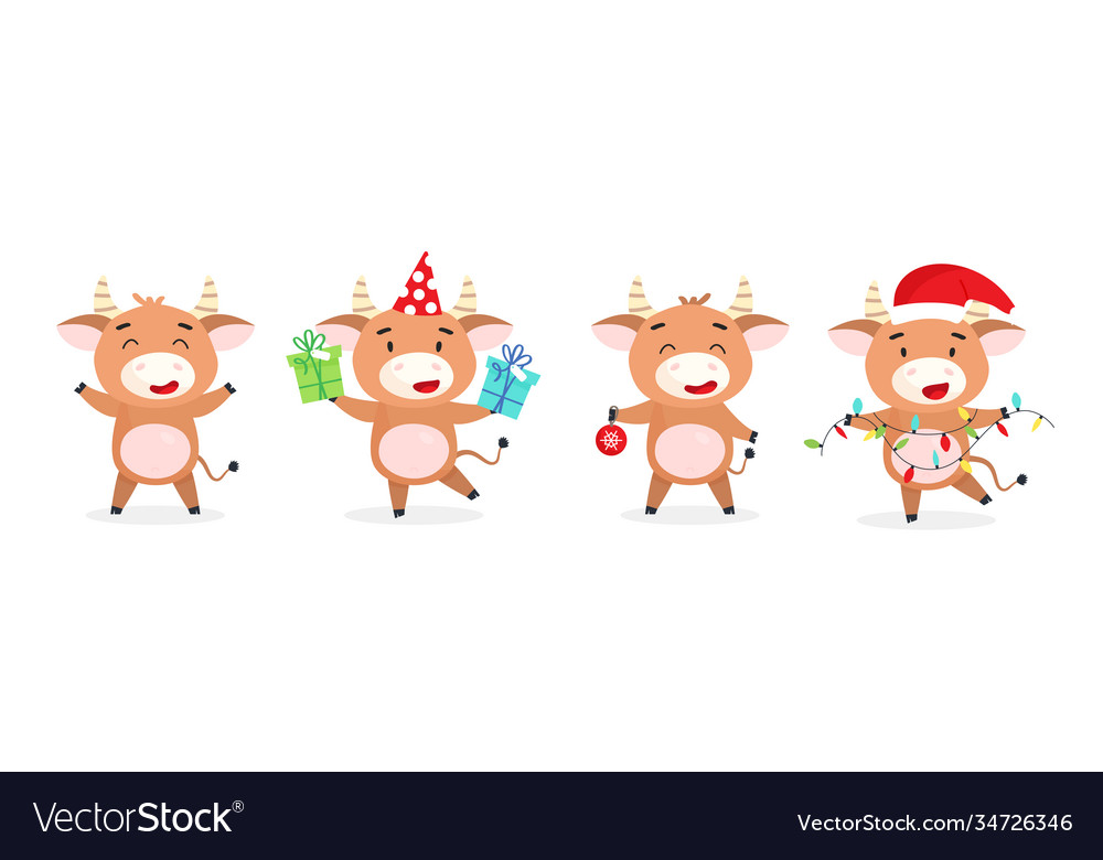Collection christmas bulls in cartoon style
