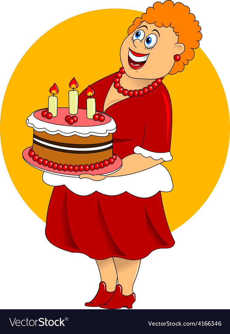 Fat cartoon woman with cake vector image