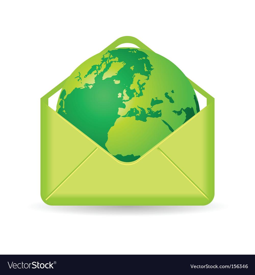 Globe in envelope vector image