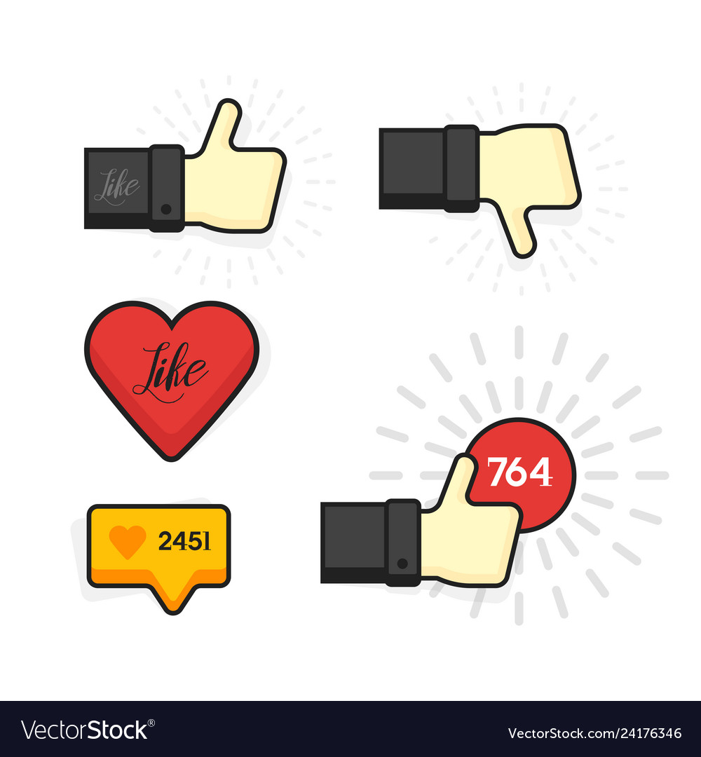 Modern set of thumb up and like icons