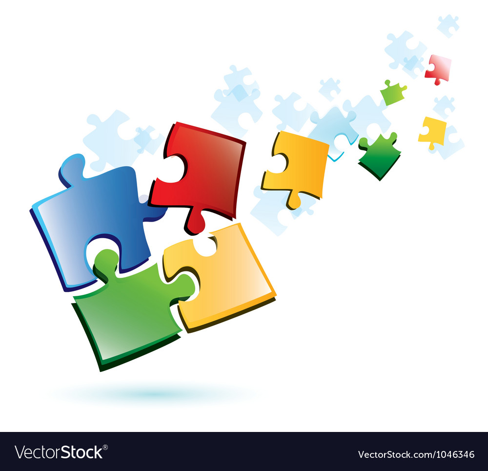Puzzle piecies background vector image