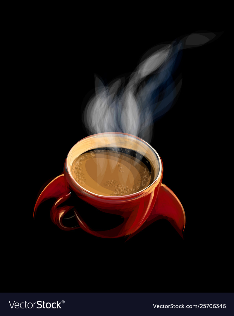 Red cup coffee with smoke on a black background