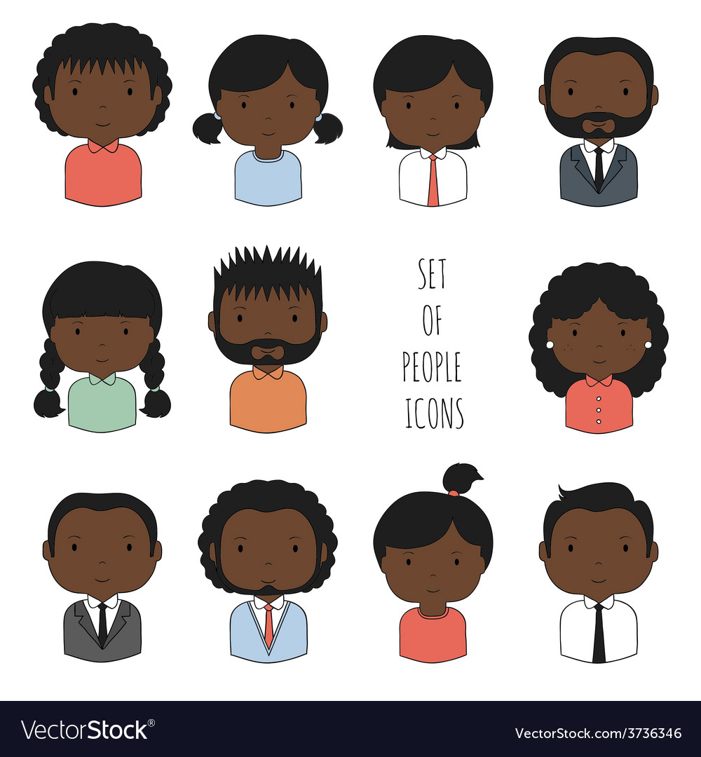 Set of colorful African-American people icons vector image