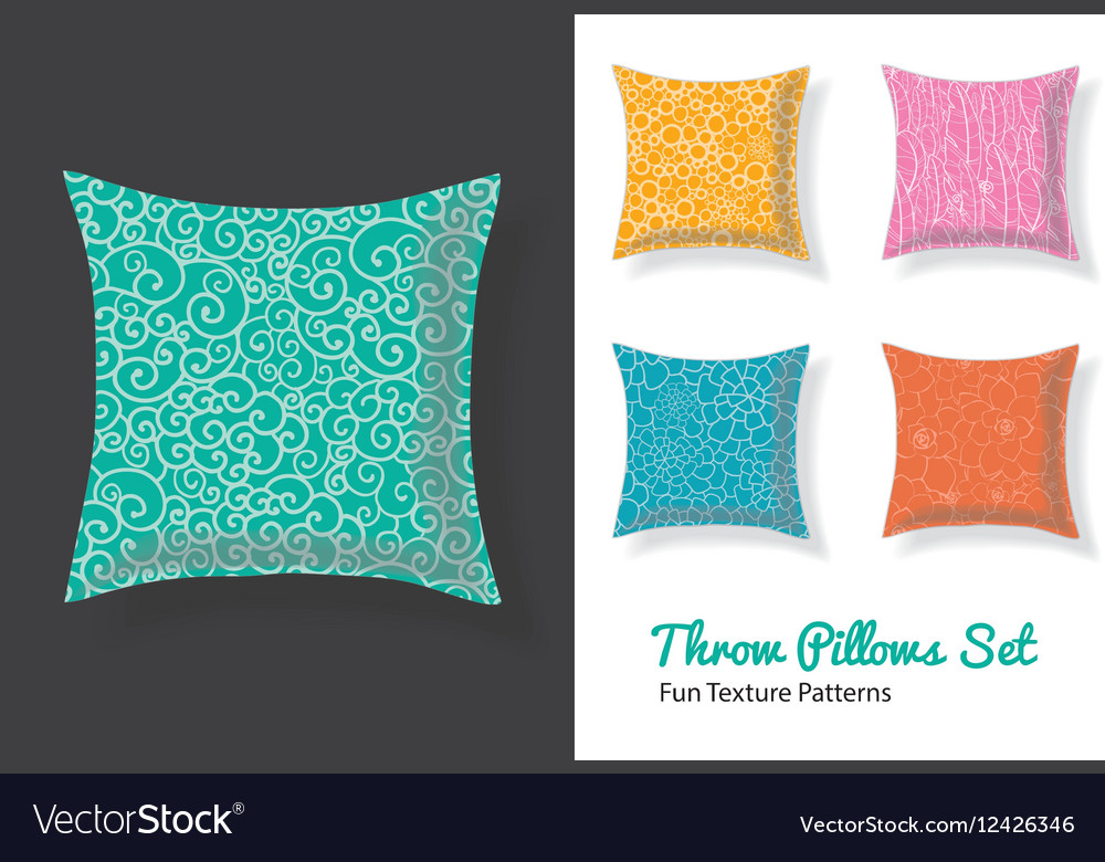 Set Of Throw Pillows In Matching Unique Natural vector image