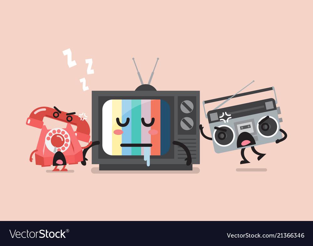 Sleeping tv is waken by radio and telephone