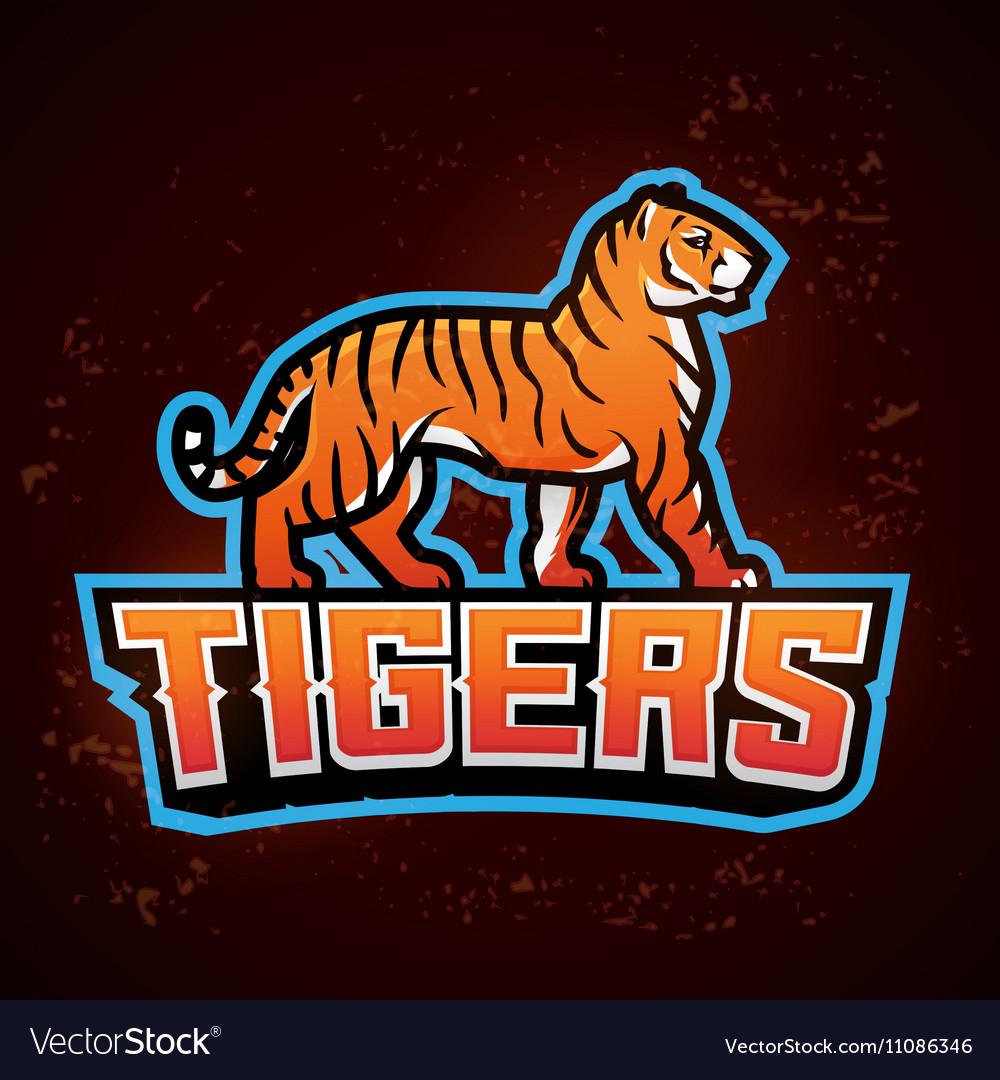 Tiger mascot Sport logo design template
