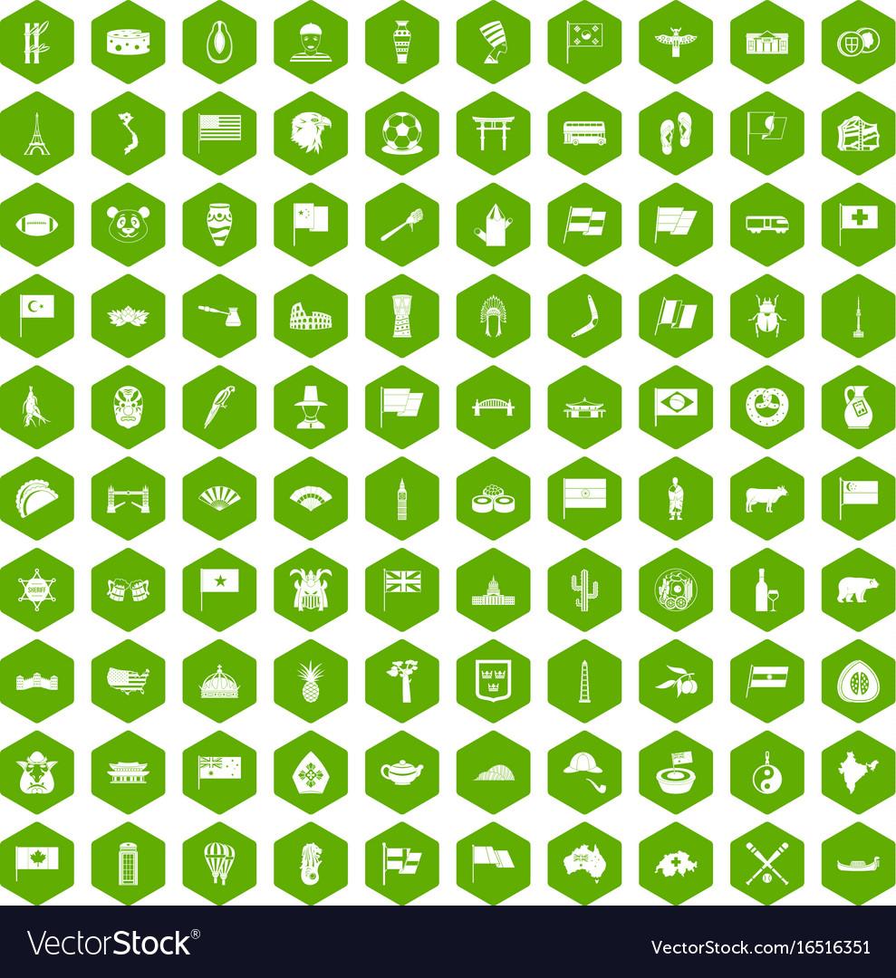100 national flag icons hexagon green
