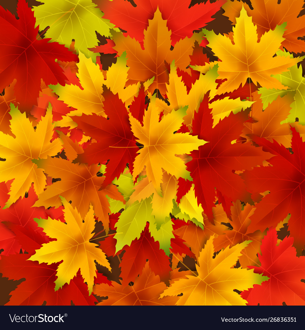 Autumn Falling Leaves Background Template With Red