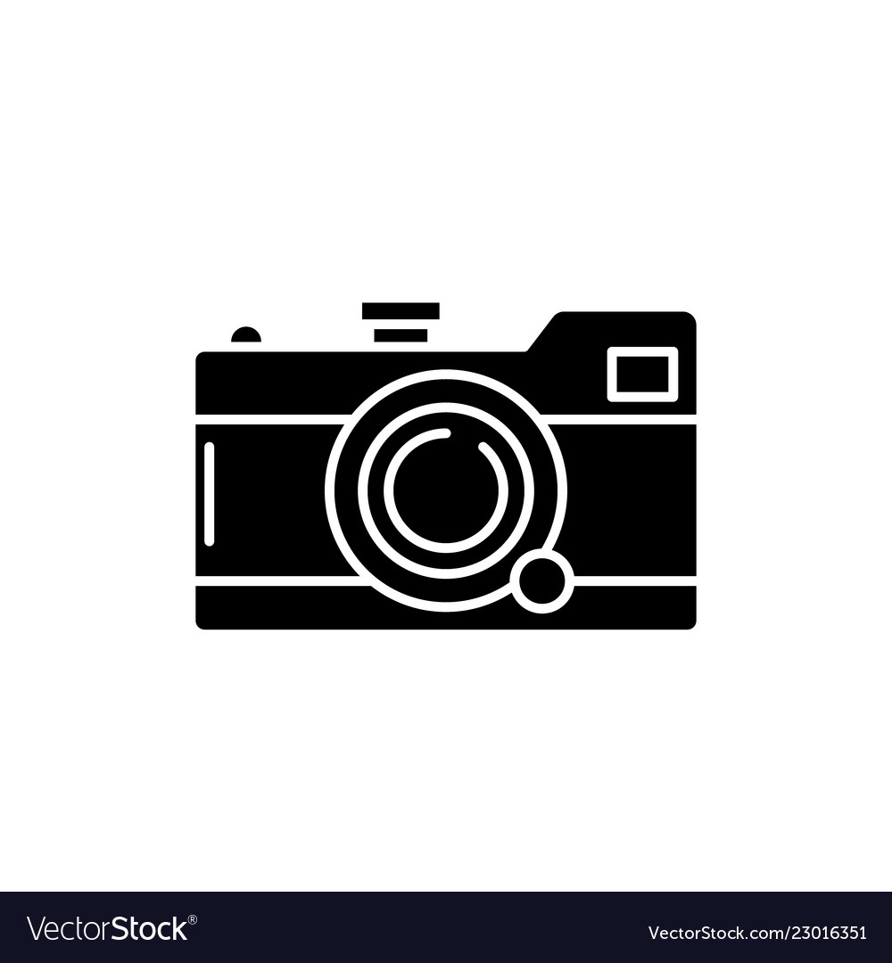 Camera black icon sign on isolated