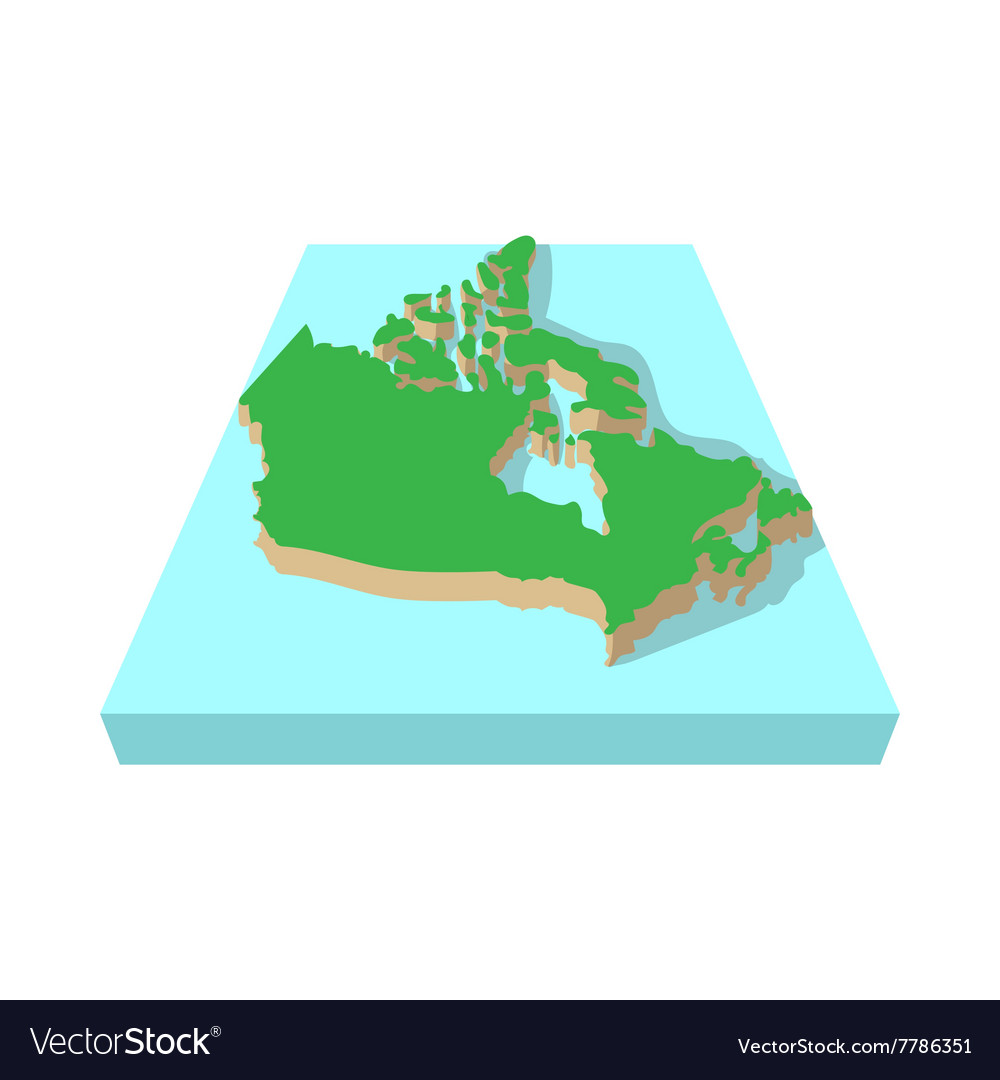 Canada map icon cartoon style