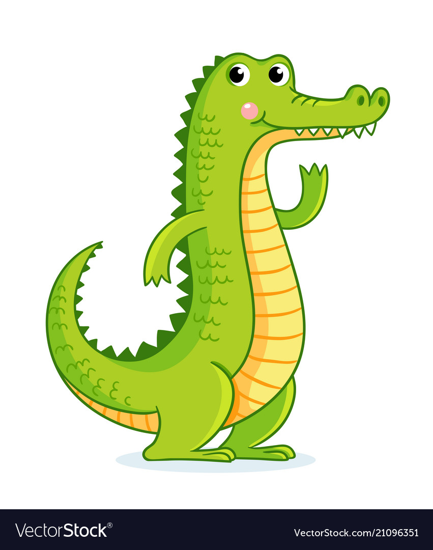 Crocodile on white background in cartoon style