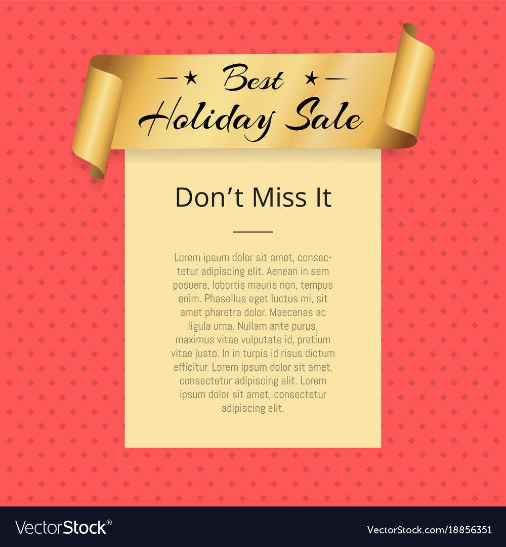 Dont miss best holiday sale poster golden ribbon vector image