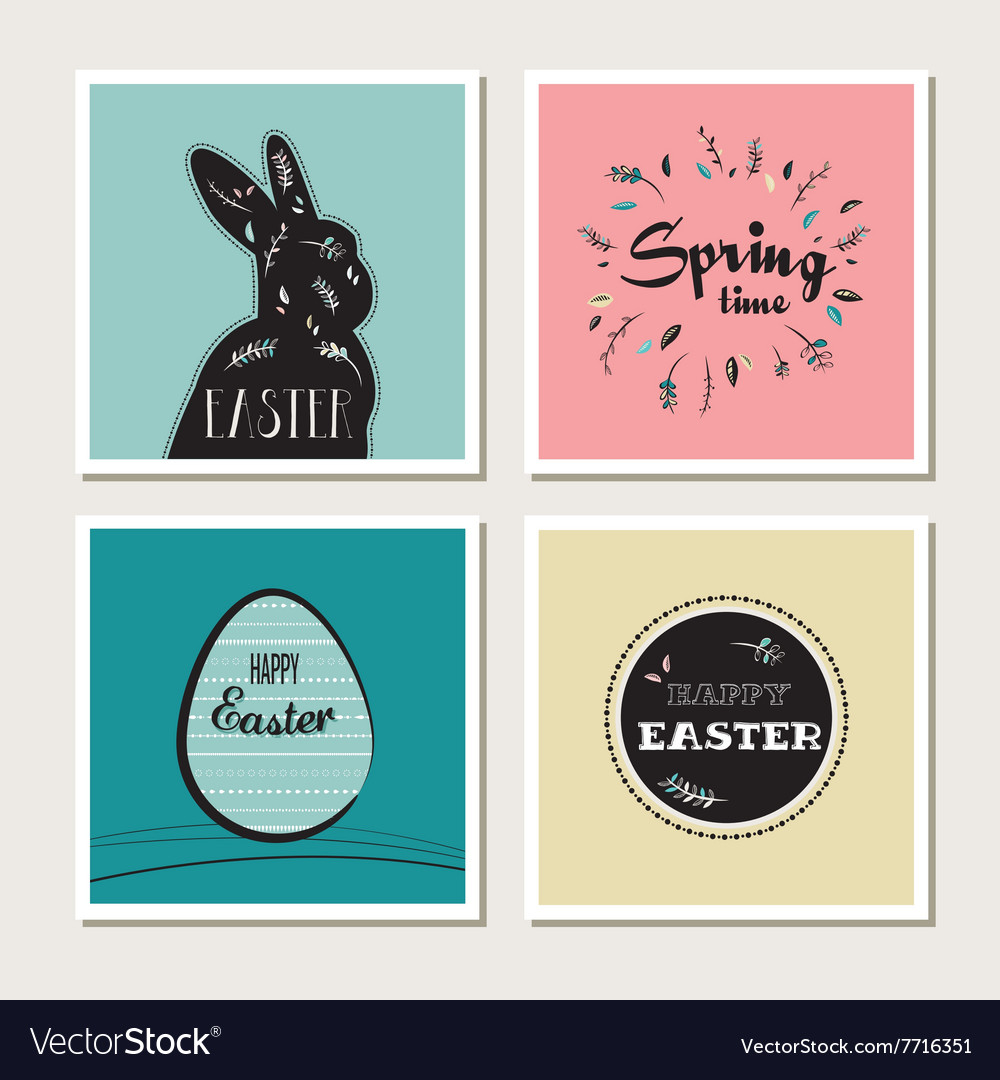 Happy easter - set stylish cards or invitations