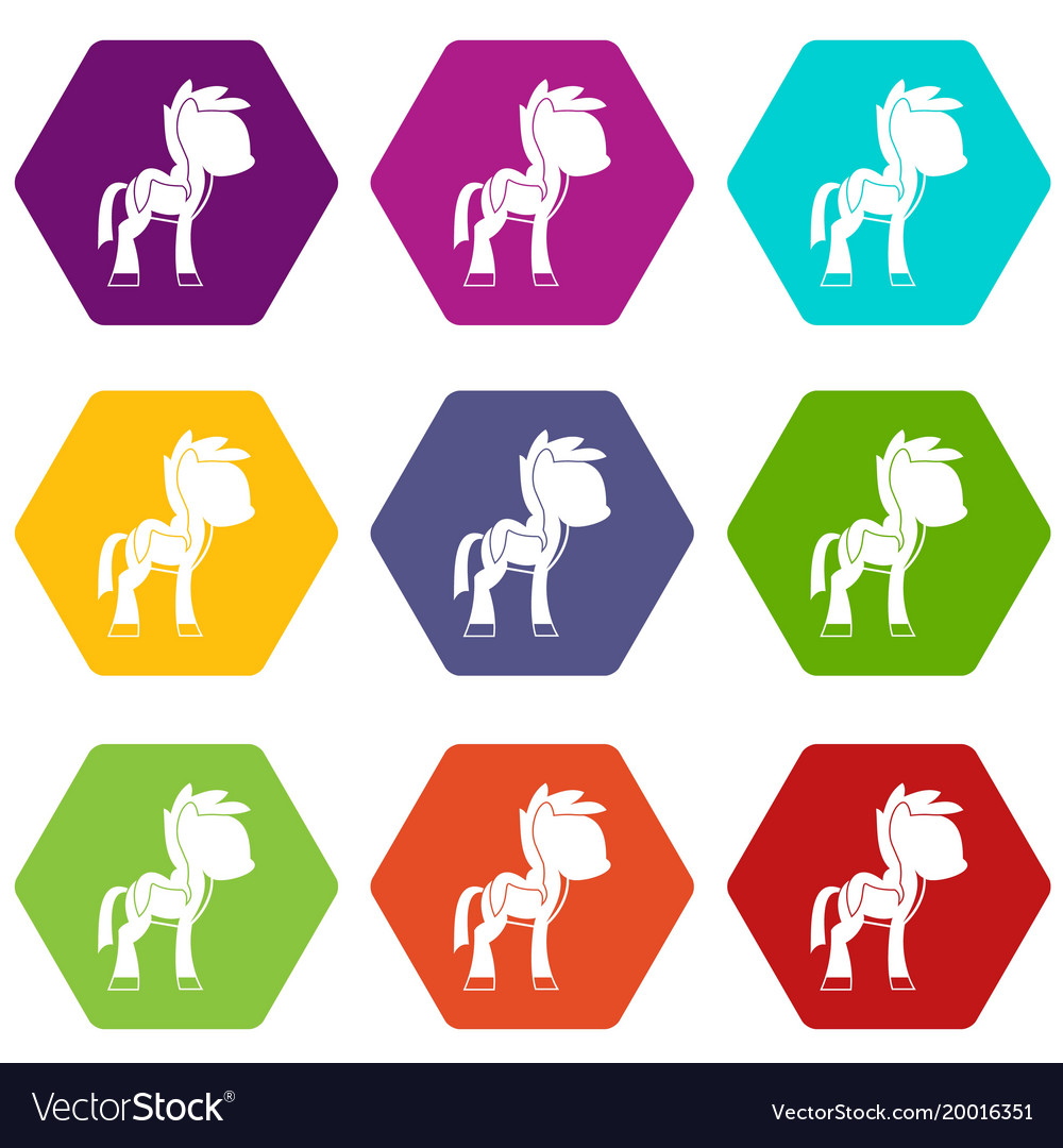 Little pony icon set color hexahedron vector image