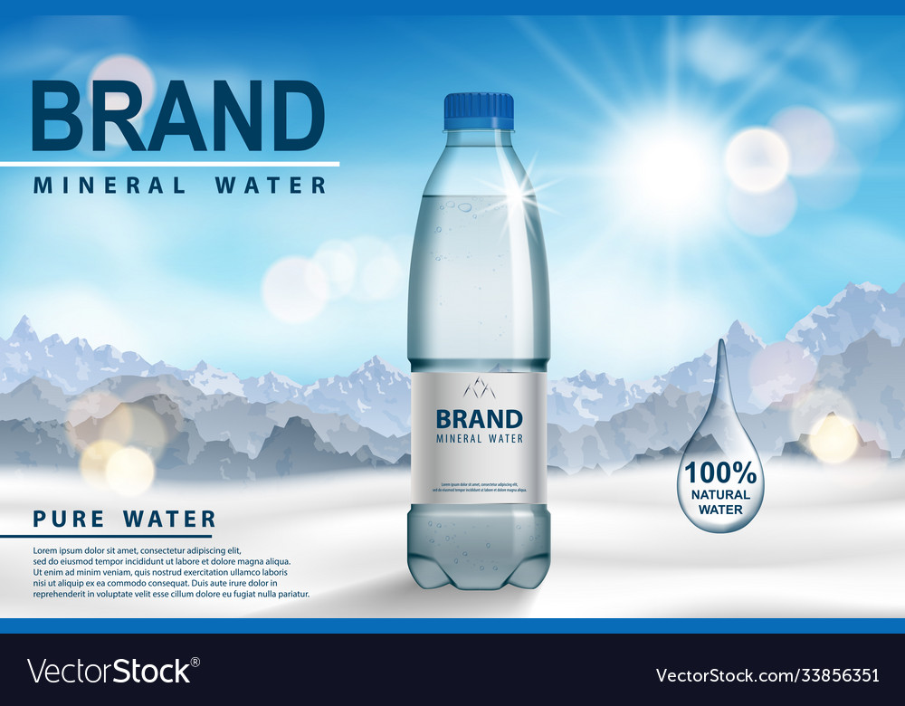Mineral water ad plastic bottle on snow