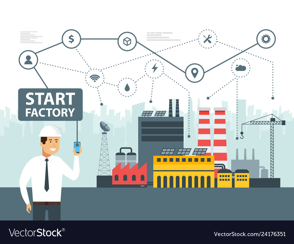 Smart factory and network icons engineer starting