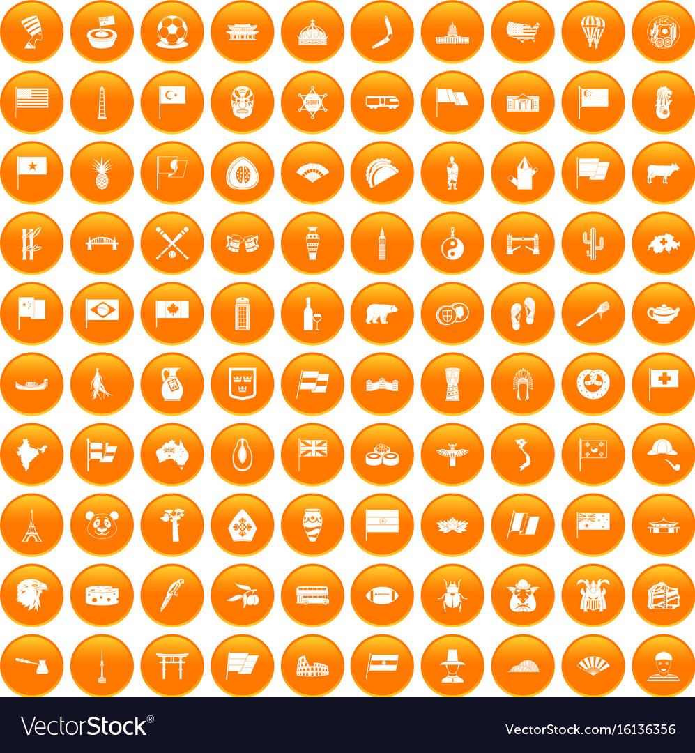 100 national flag icons set orange