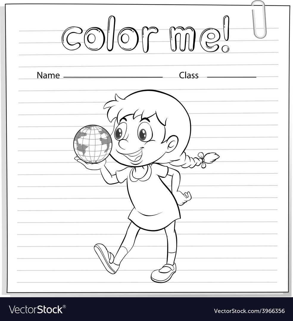 A coloring worksheet with a young girl