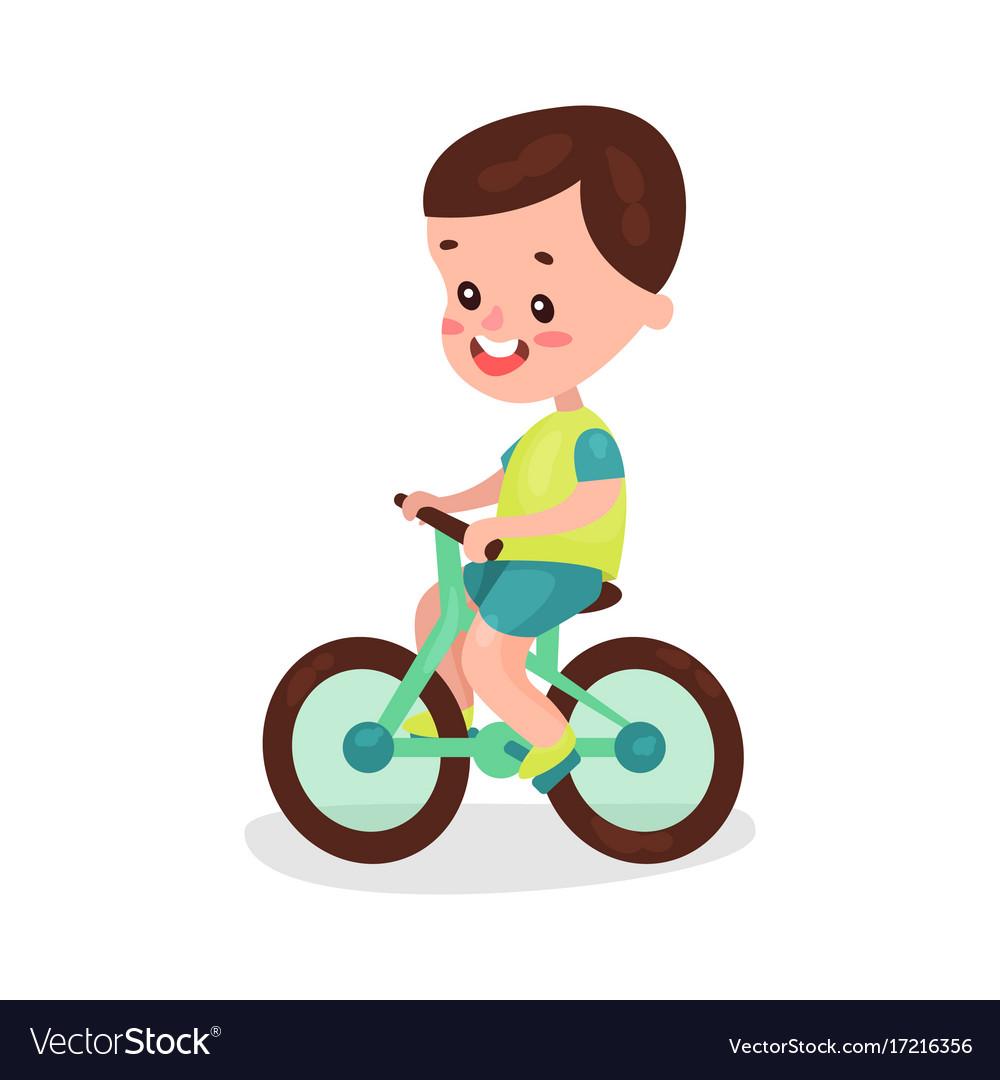 Adorable brunette little boy riding bike cartoon