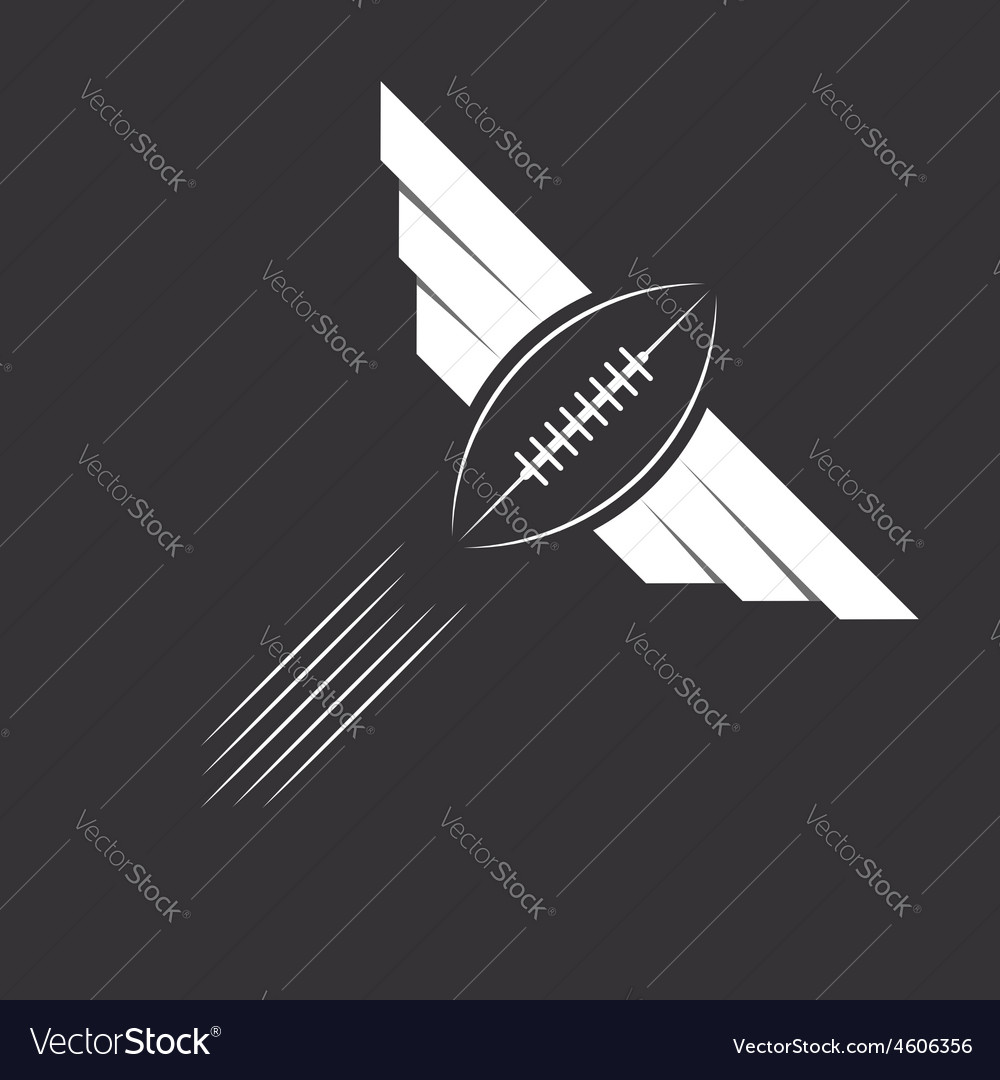 Ball with wings of American football or rugby