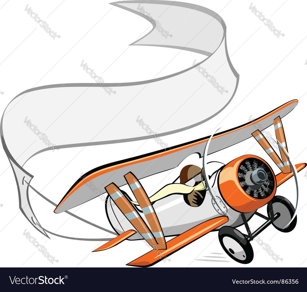 Cartoon biplane vector image