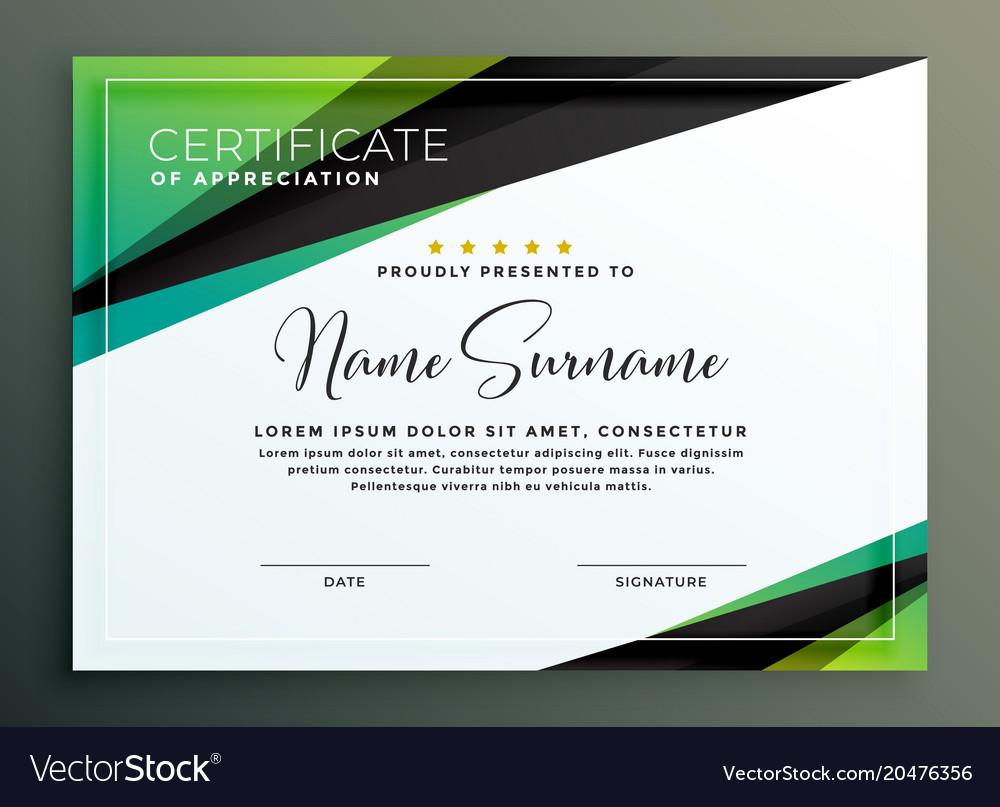 Certificate Template Design In Green Black Vector Image