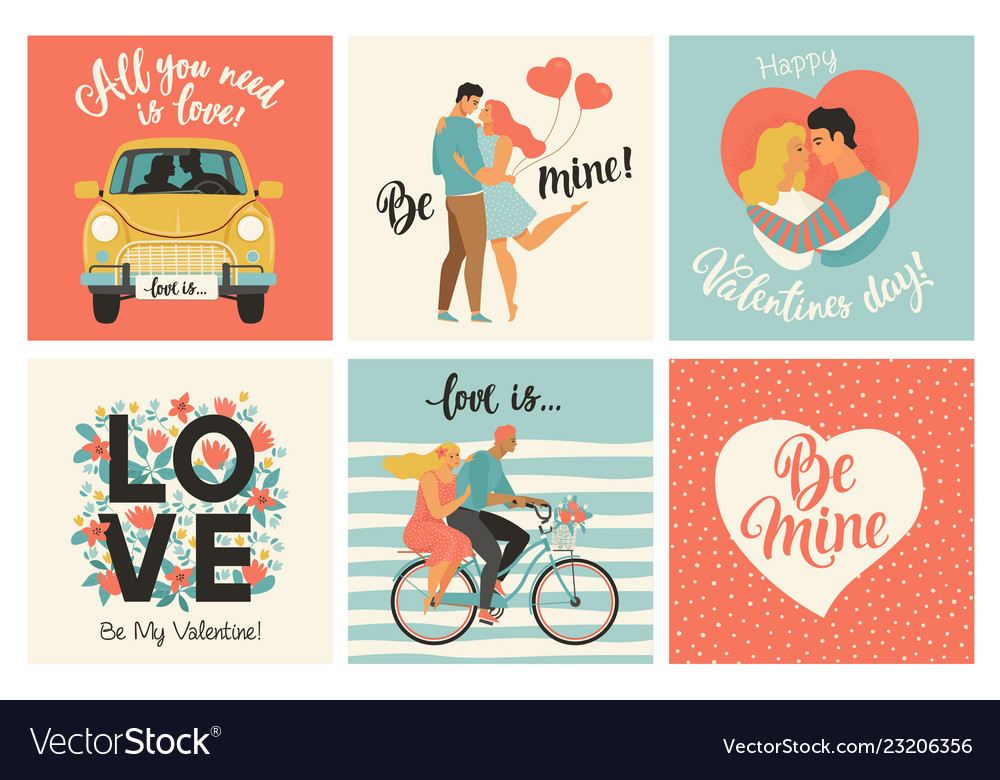 Collection of designs with cute loving couples