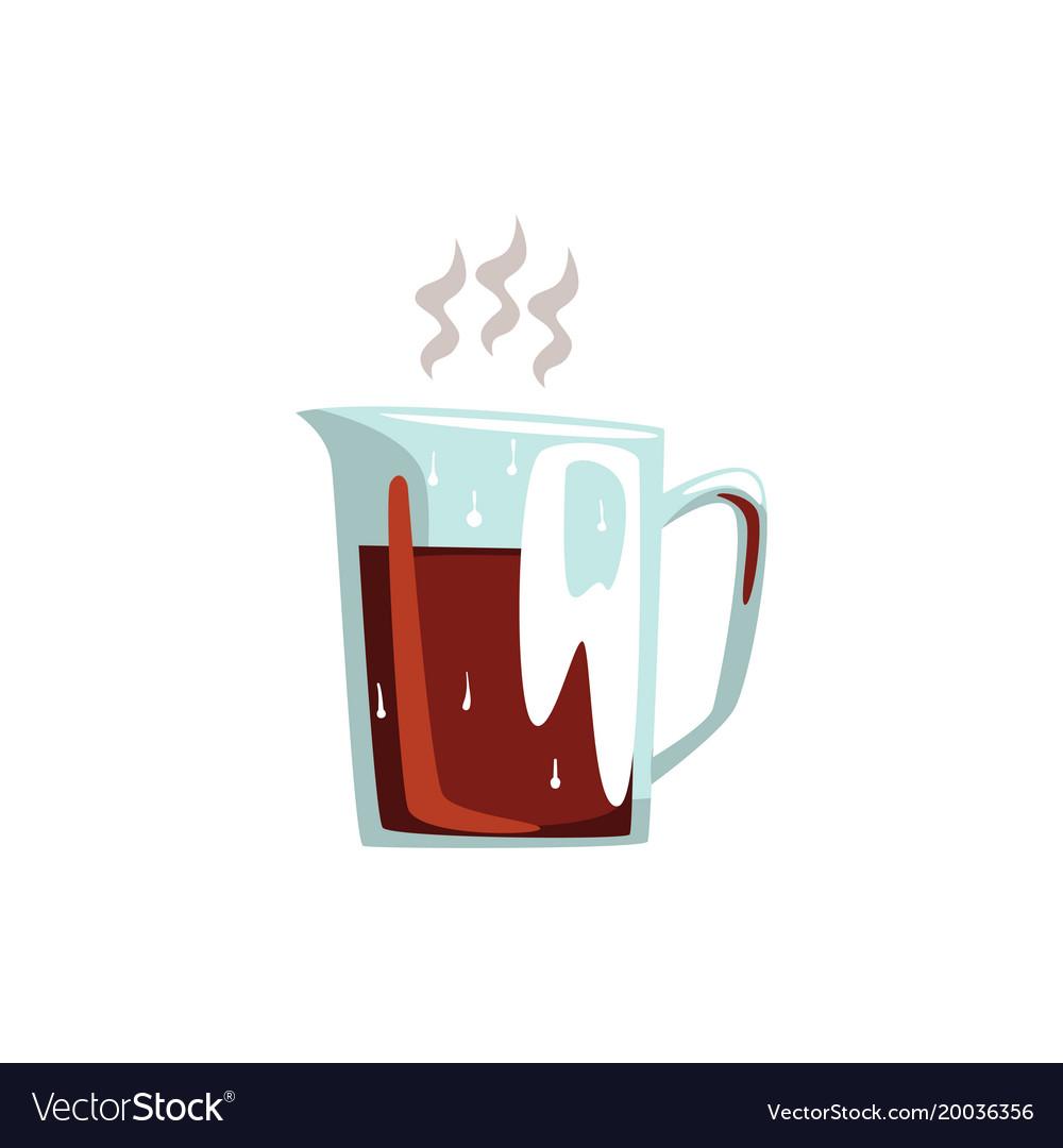 Glass coffeepot hot coffee cartoon vector image