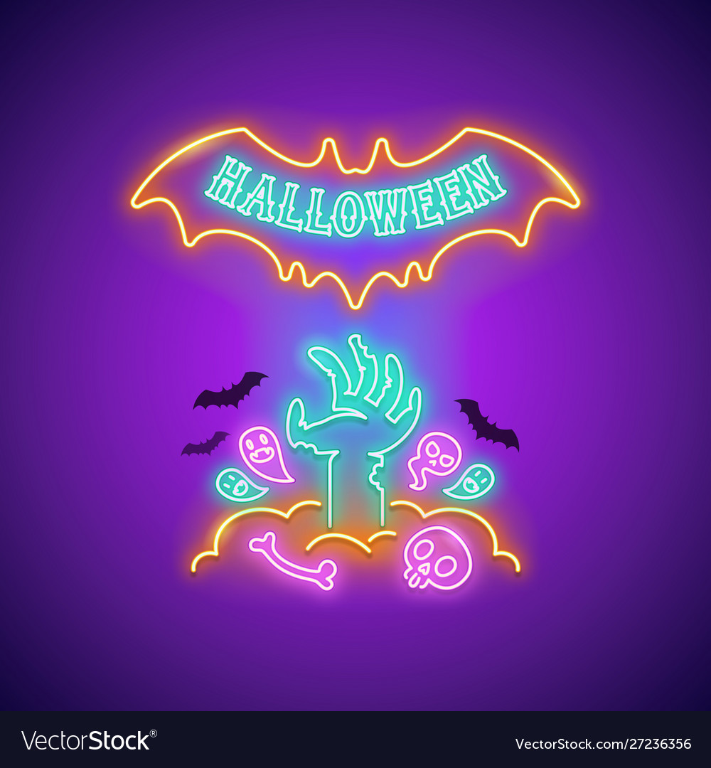 Halloween neon sign with zombie hand
