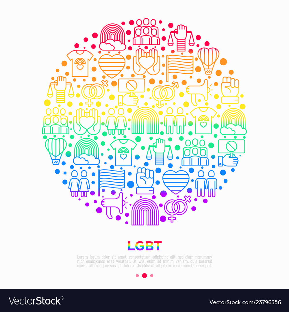 Lgbt concept in circle with thin line icons