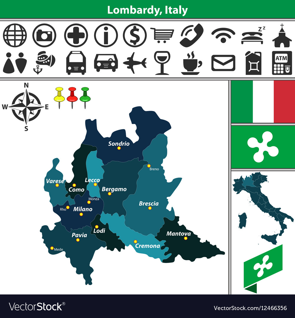 Map Of Lombardy Royalty Free Vector Image Vectorstock
