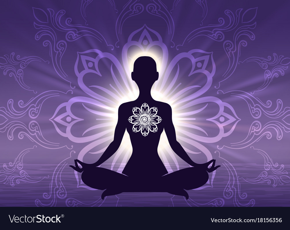 Meditation yoga woman silhouette vector image