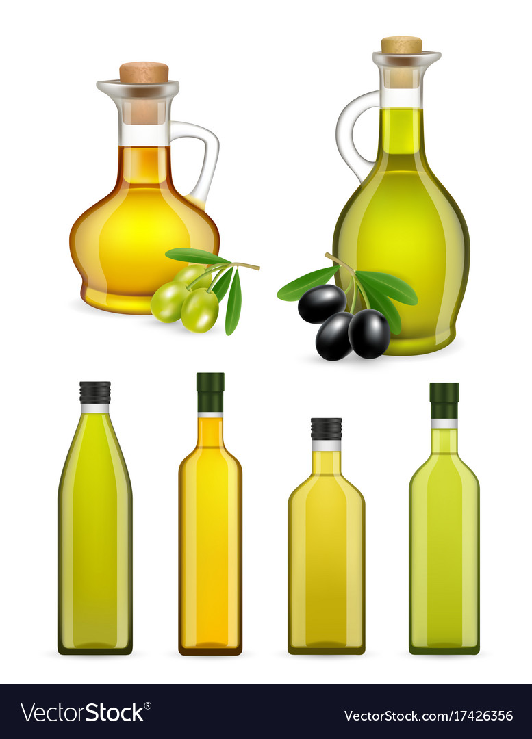 df7352222457 Realistic glass olive oil bottles and jars