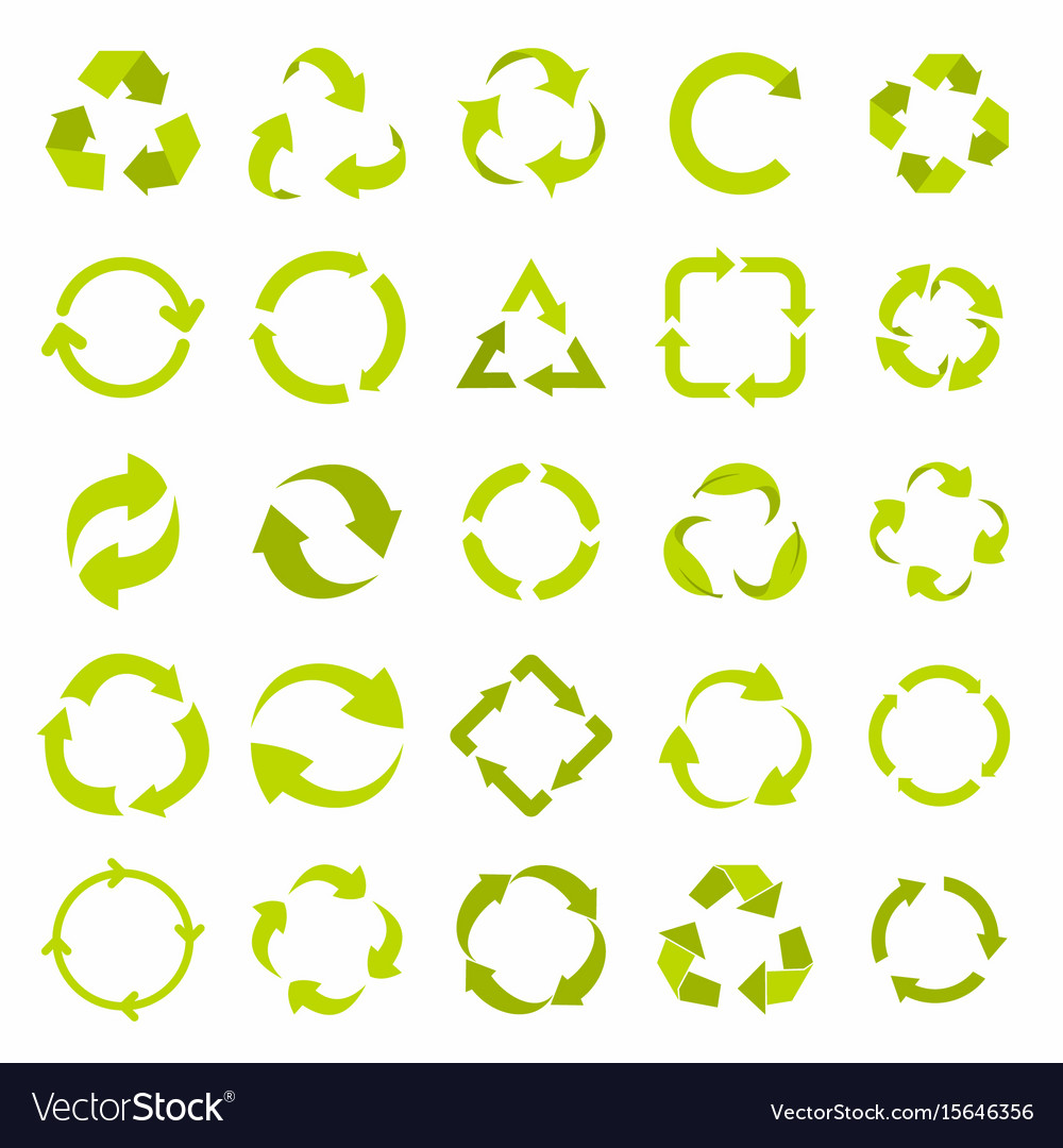 Recycle eco signs set in green flat style
