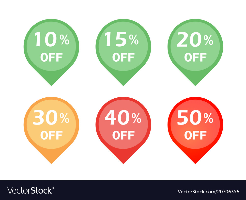 Set of discount sign icon