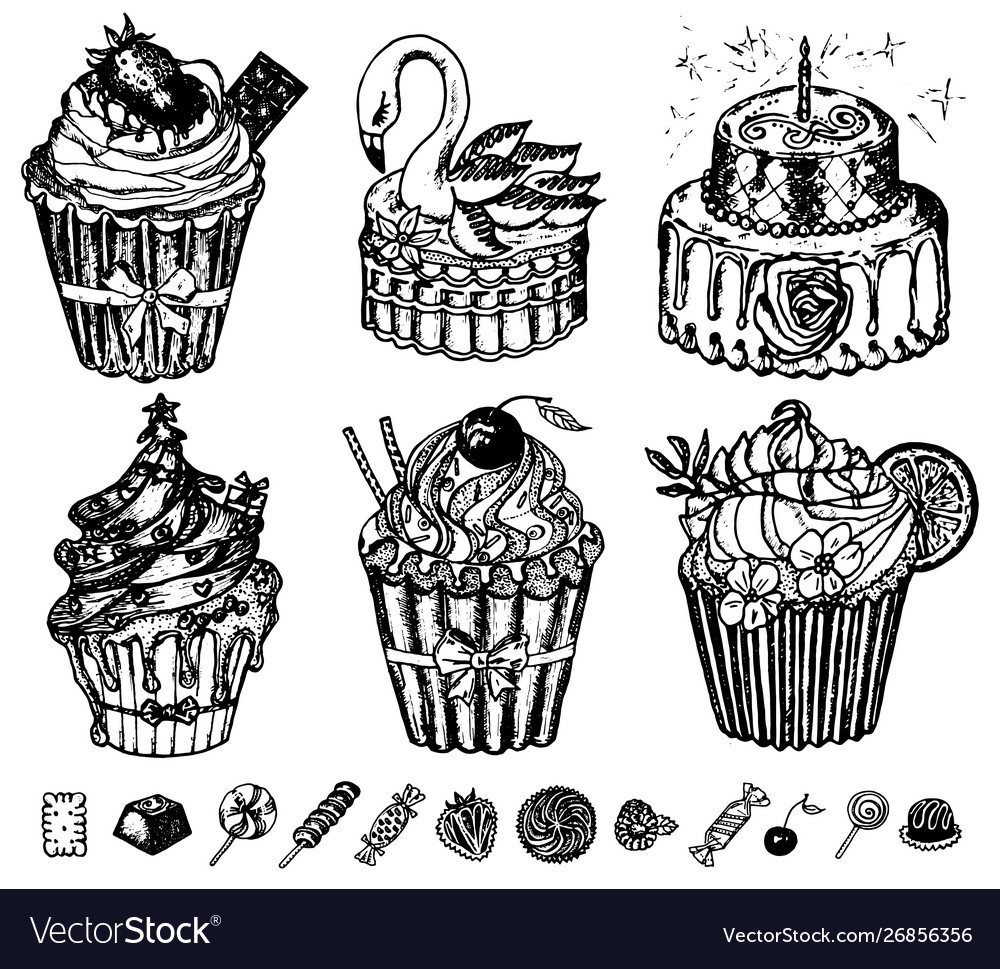 Sweet cakes in vintage style tasty pastry doodle