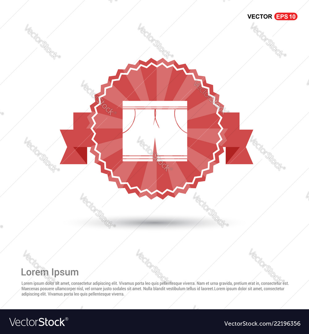 Swimming trunks icon - red ribbon banner