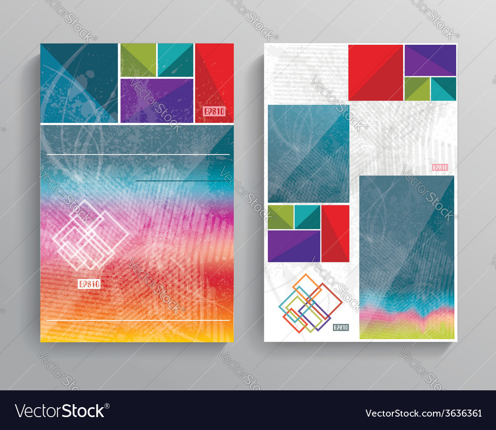 Brochure template design with bright cubes