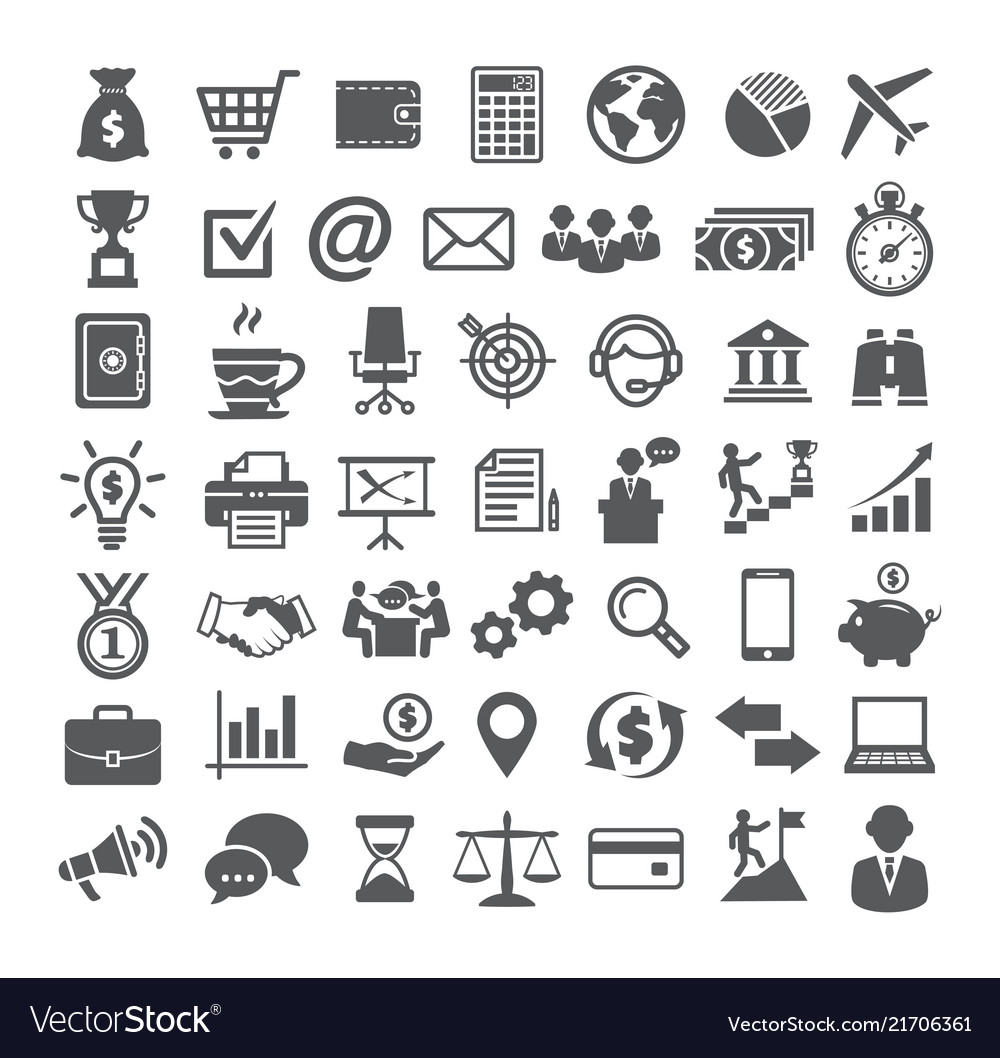 Business icons set icons for business management