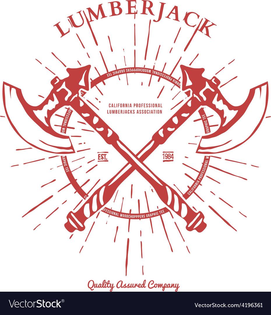 Crossed Axes Lumberjack Graphic Tee T-print