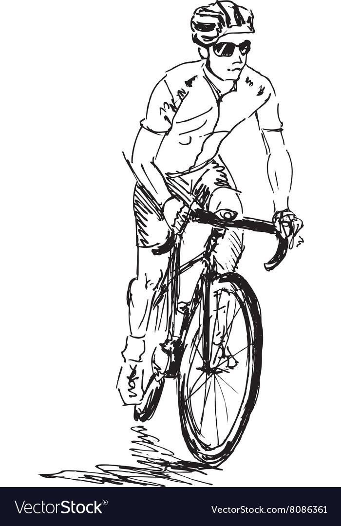 Hand sketch cyclist vector image