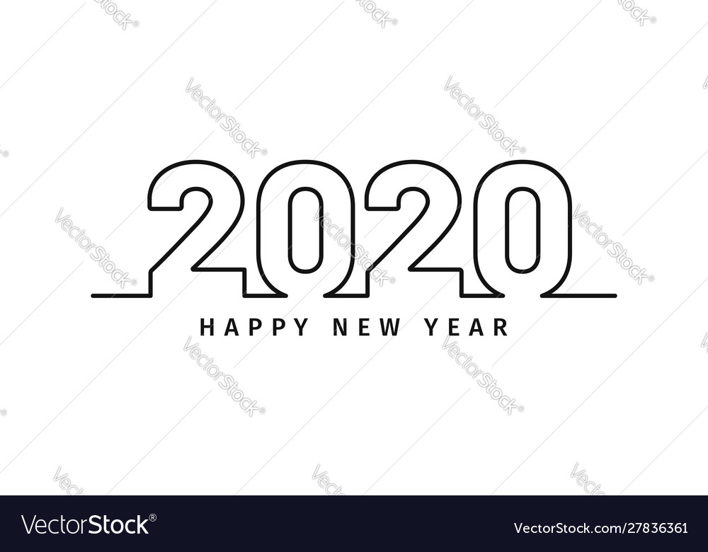 Happy new year 2020 text design in line art style