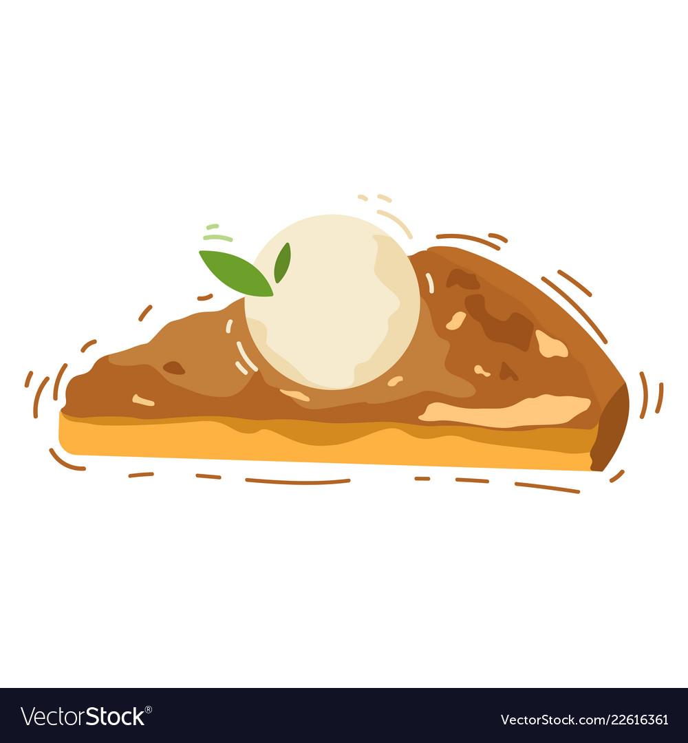 Hot delicious piece of apple pie with vanilla ice