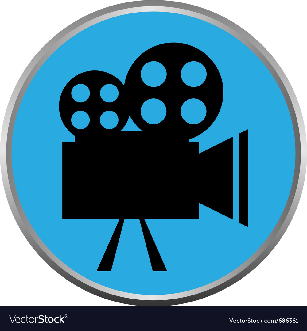 Icon button the videocamera silhouette