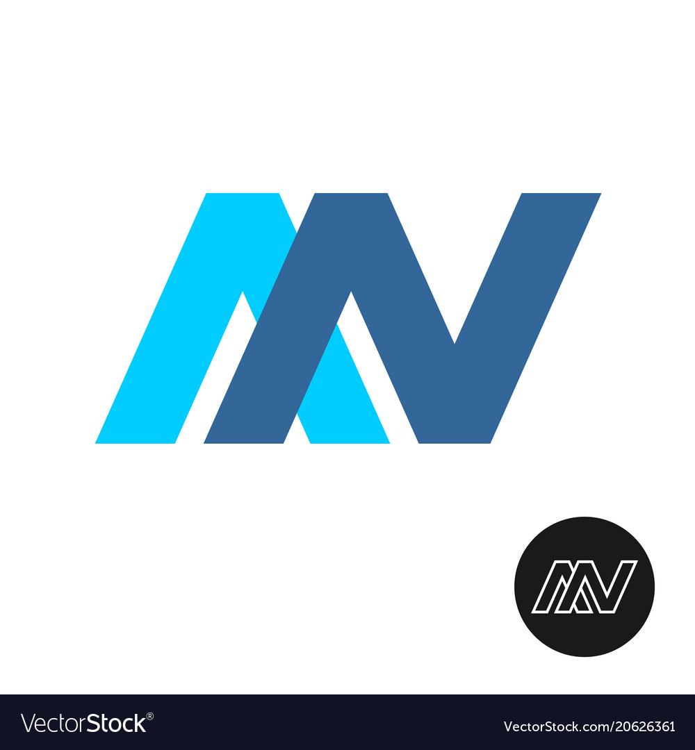 Letters a and n ligature logo an color sign vector image