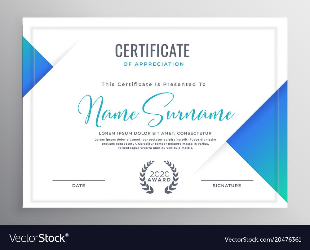 Minimal Blue Triangle Certificate Template Design Vector Image