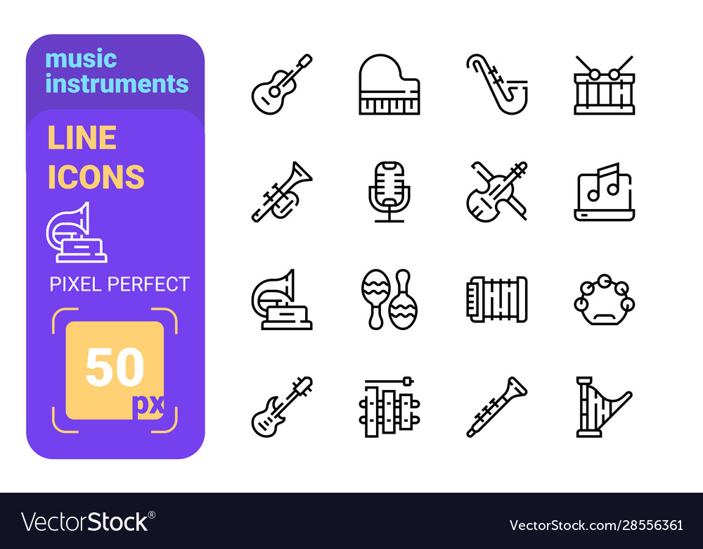 Music instruments and audio symbols collection